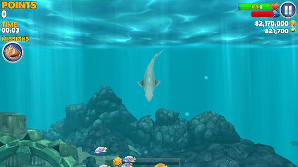 《饥饿的鲨鱼:进化破解版 Hungry Shark Evolution》是一款快节奏的弱肉强食的动作游戏,游戏在某种层面上你可以理解为和大鱼吃小鱼的游戏,但是在这款游戏中,人类也是食物链中的一部分,也是鲨鱼最爱的食物。注意水里和陆地上的鲨鱼猎人,你的鲨鱼随时可能成为它们的盘中餐!